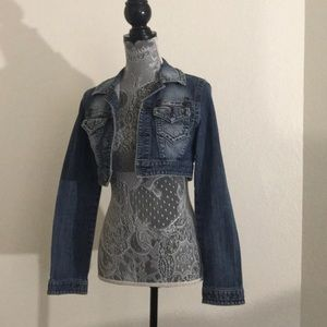 Cropped jean jacket size Medium/ Small